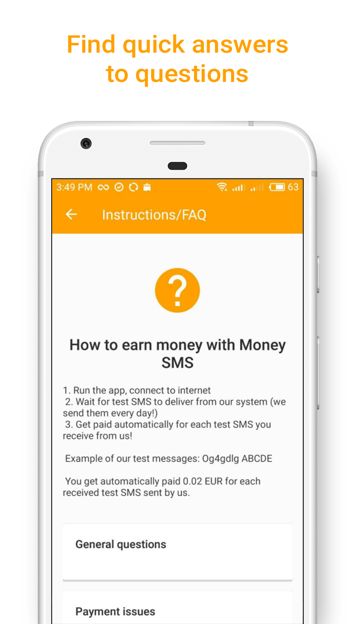 Money SMS app - Find quick answers to questions - screenshot