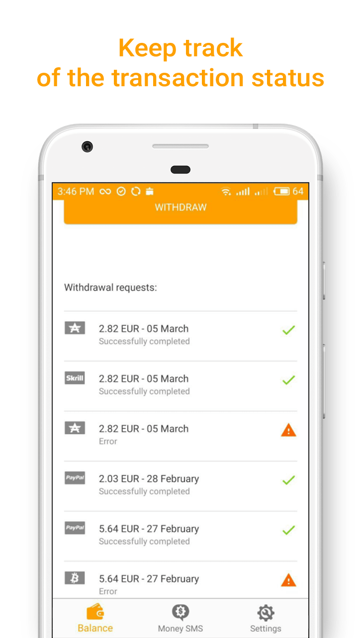 Money SMS app - Keep track on the transaction status - screenshot