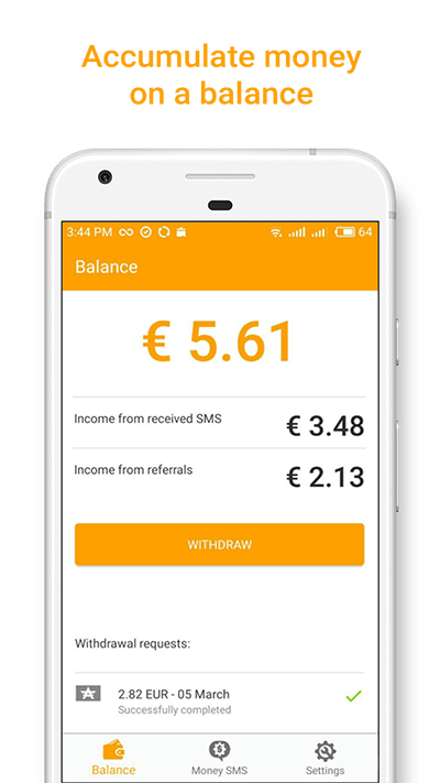 Accumulate money on a balance Money SMS-min screenshot