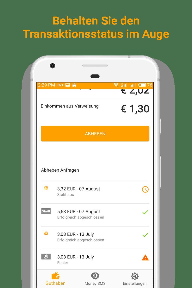 Money SMS app - Behalten Sie den Transaktionsstatus im Auge - 06-screenshot