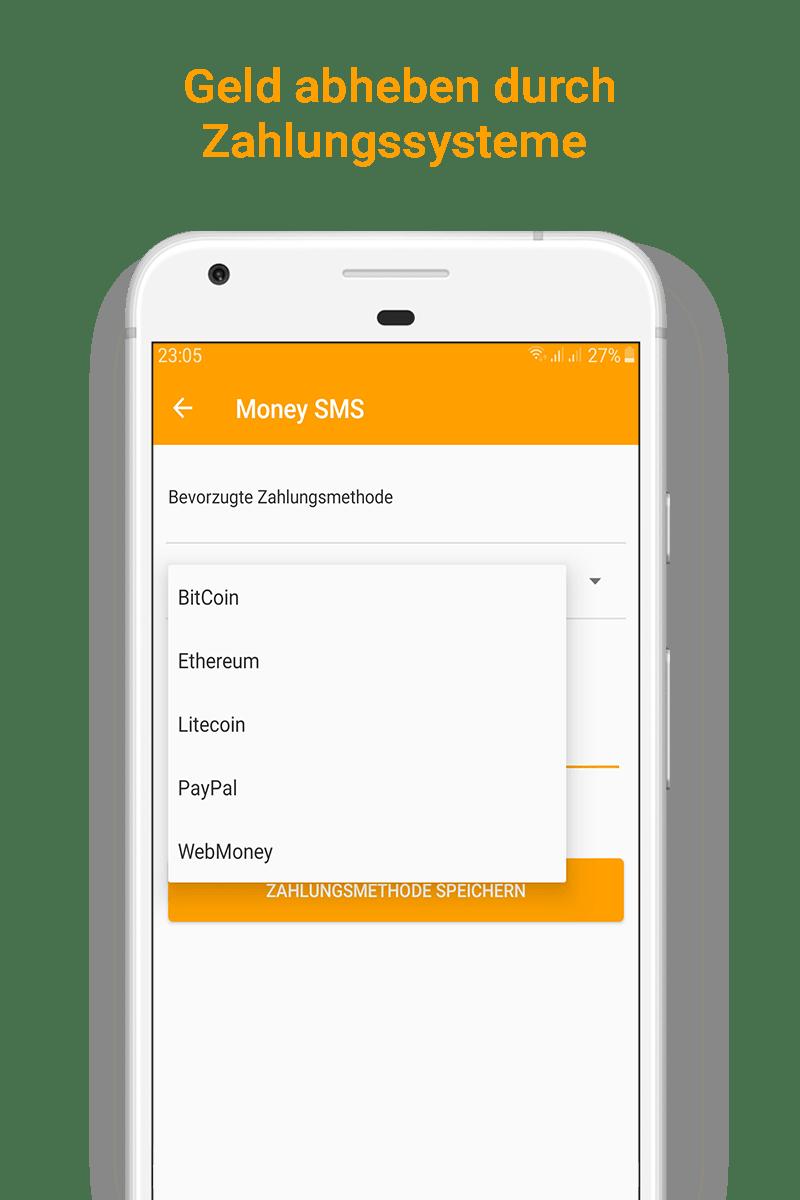 Money SMS app - Geld abheben durch Zahlungssysteme - 05-screenshot
