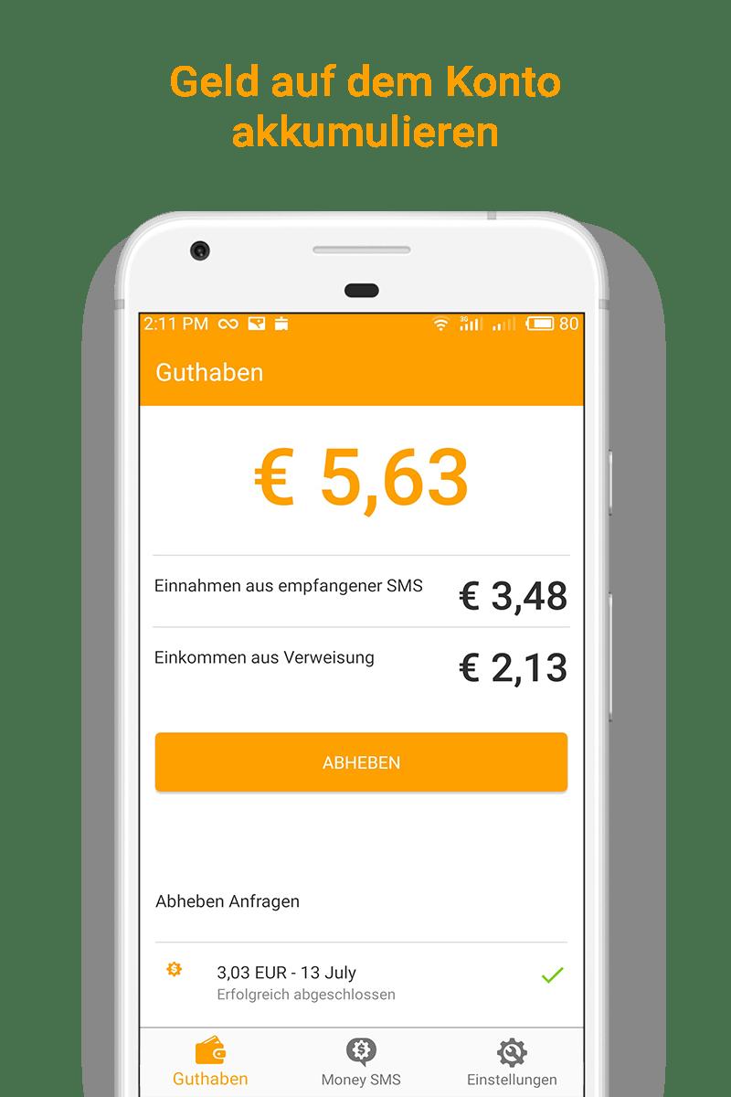 Money SMS app - Geld auf dem Konto akkumulieren - 03-screenshot