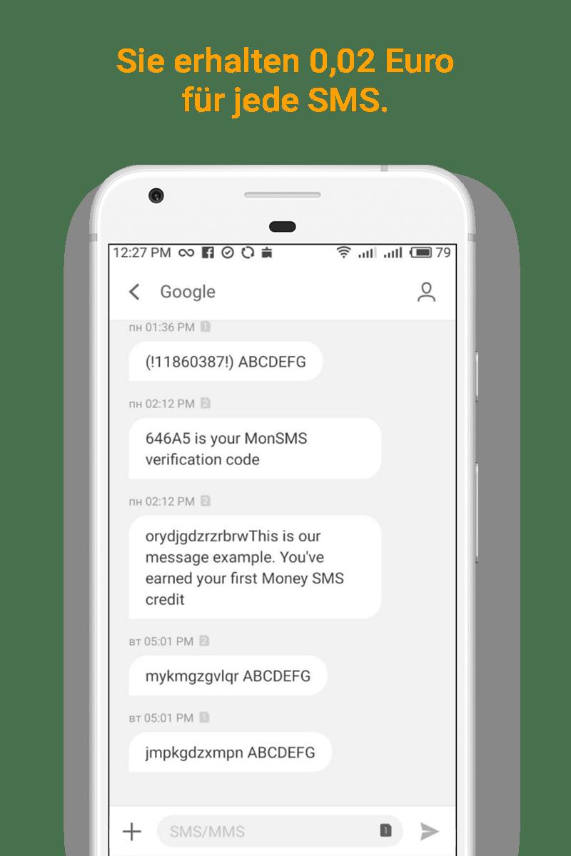 Money SMS app -Sie erhalten 0,02 Euro für jede SMS. - 02-screenshot