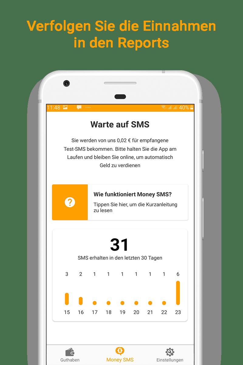 Money SMS app - Verfolgen Sie die Einnahmen in den Reports-picture